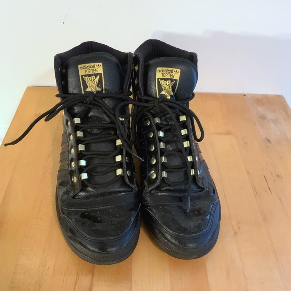 Adidas Top Ten Hi Black & Gold Size 10.5